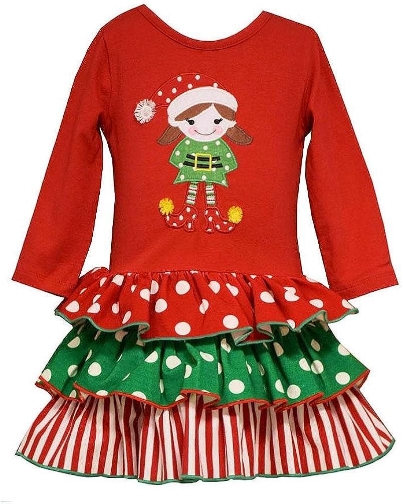 Bonnie Jean Little Girls' Red Green ELF Applique Mixed Ruffles Dress