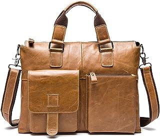 Men's Accessories 14 Inch Computer Laptop Handbag,Men's Tablet Messenger Bag Vintage Large Satchel Shoulder Bag Outdoor Recreation (Color : Yellow)