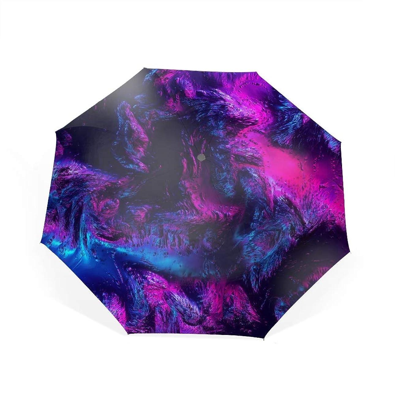材料反対に赤道山頂トップビューバイオレット自動開閉折り畳み傘 2重構造 耐風撥水8本骨 男女兼用 丈夫 大型 大きな傘 梅雨対策 収納ポーチ付き