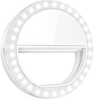 Criacr Selfie Ring Light, Clip-on Phone Selfie Light, Rechargeable 33 LED Fill Light, 3-Level Adjustable Brightness On-Cam...
