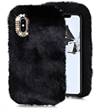 Cistor Plush Cover Case for iPhone XR,Luxury Handmade Rabbit Fur Faux Furry Fluffy Soft Warm Winter Back Cover Shockproof TPU Protective Case with Bling Diamond Bowknot for iPhone XR,Black