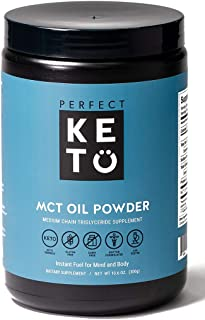Best Perfect Keto MCT Oil C8 Powder, Coconut Medium Chain Triglycerides for Pure Clean Energy, Ketogenic Non Dairy Coffee Creamer, Bulk Supplement, Helps Boost Ketones, Unflavored Review