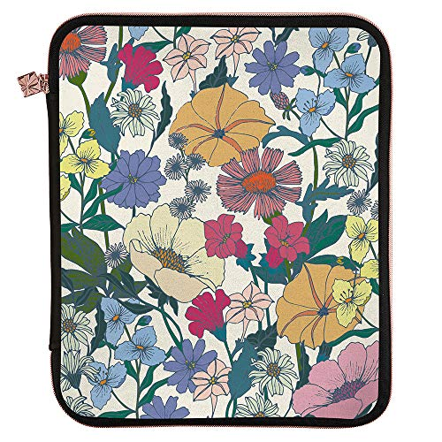 Erin Condren Planner Folio - Flower Power - Large (10.5' x 13') - Organize on The Go with Storage for Books, Planners, Notebooks. Use as Laptop Case with Pen Holder, Rose Gold Zipper