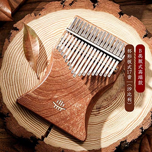 SYXMSM Kalimba 17 Keys Daumenklavier Vollmassivholzplatte Bord Professionelle Mbira Palisander Musikinstrument for Anfänger (Color : Sapele)