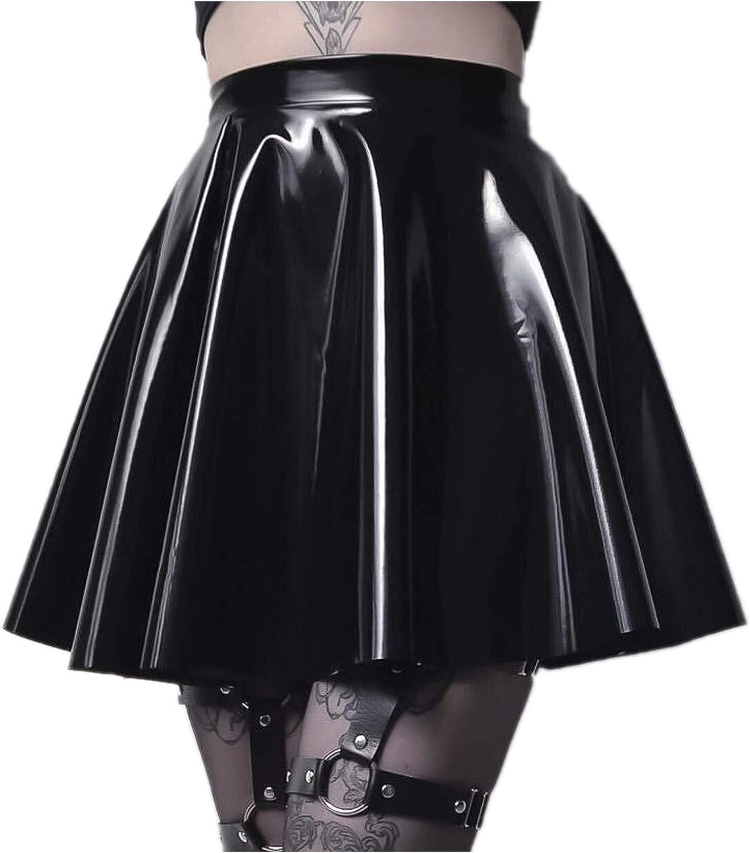 iHHAPY Women's PU Leather Short High Waist Pleated Skater Tennis Skirt Flared Casual Mini Skirts