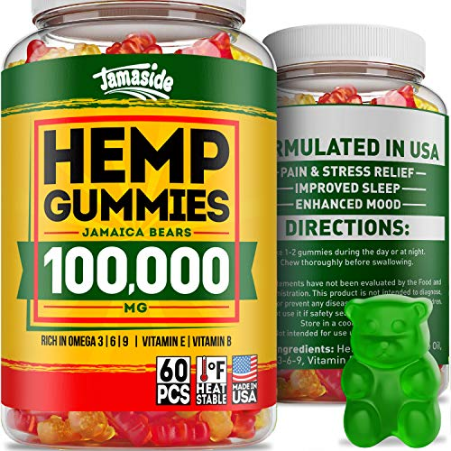 Hemp Gummies 100000 - Made in USA - 1667 Hemp in Each Gummy - Premium Hemp Extract for Anxiety & Stress Relief - Effective Sleep & Mood Improvement - Hemp Oil Gummies Rich in Omega 3, 6, 9