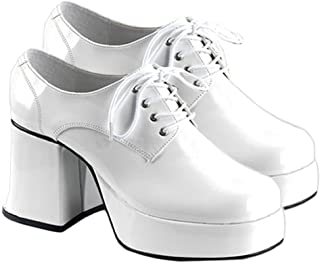 Mens XLG (14)- White Patent Disco Costume Shoes