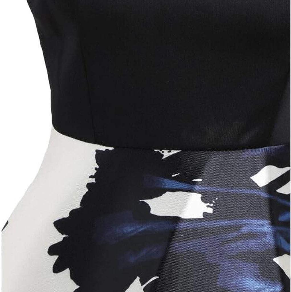 Millenniums Robe Femme de Cocktail /Épaules D/énud/ées Vintage sans Manches Robe Ann/ées 50s Audrey Hepburn Rockabilly Swing Imprim/é Pin-up C/ér/émonie Robe de Soir/ée Grande Taille