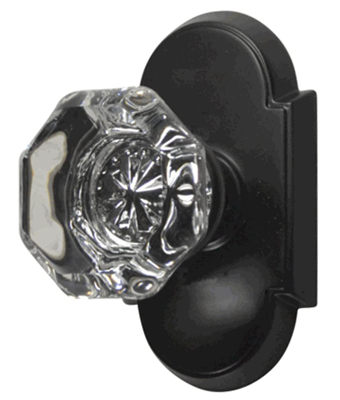 Providence Octagon Real Crystal Glass Door Knob Set with Arched Rosettes in Oil Rubbed Bronze (Privacy Bed/Bath)