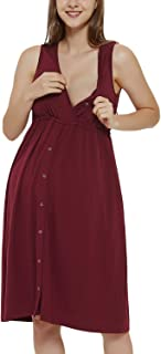 Bhome 3 in 1 Nursing Gown Labor delivery Hospital Maternity Nightgown Vneck Dress for Breastfeeding