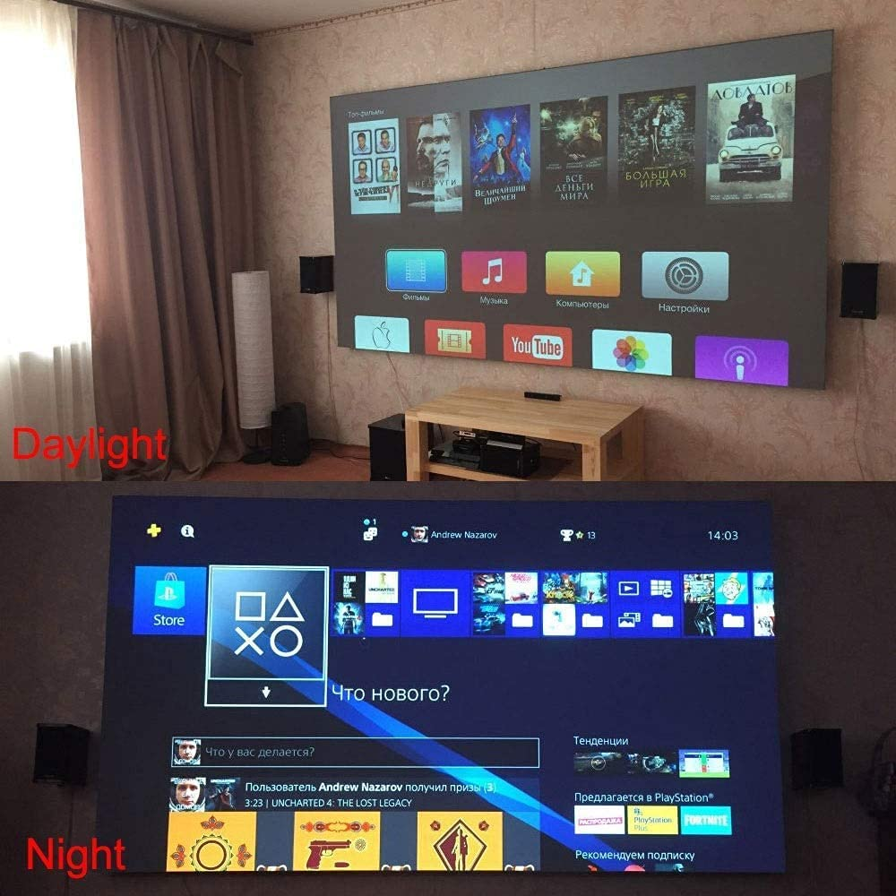 HGSDKECFS Portable Projection screenProjector Screen 16:9 Metal Anti Light Curtain Reflective Fabric Cloth for Projector
