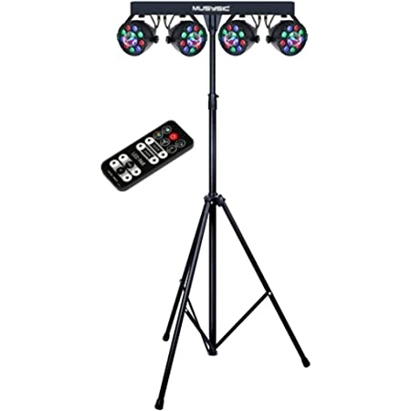 MUSYSIC MU-L31G Complete Professional 4-Par 4-in-1 Stage LED Lights DJ Band DMX System & Stand
