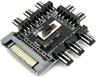 LeHang 4X SATA Fan 1 à 8 Channel Hub 12V 3Pin Alimentation Splitter Adaptateur PC Ventilateur