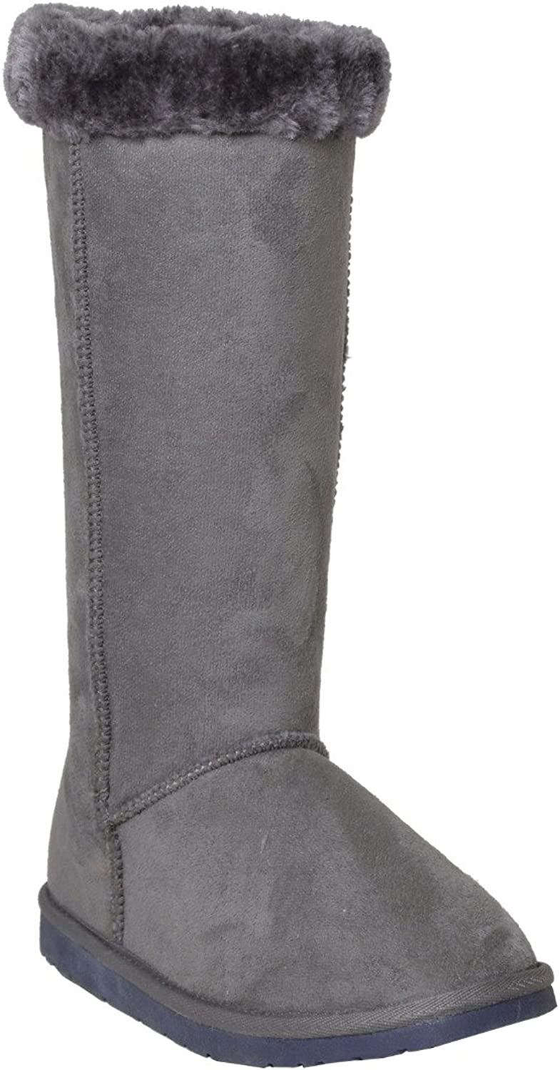 Generation Y Womens Mid Calf Boots Fur Cuff Trimming Casual Pull on shoes