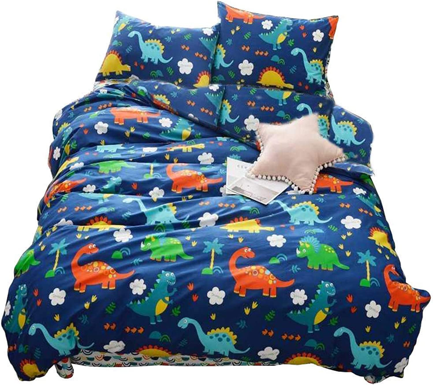 Jane yre Cute Cartoon Dinosaur Twin Bedding Set for Kids Students 100% Cotton 3 Pieces Reversible Duvet Cover Set Dinosaur Pattern Boys Girls Twin Size Red bluee Yellow Green colorful
