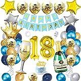 APERIL Palloncini 18 anni Compleanno Blu Oro Argento Palloncini Addobbi, Maschio e Femmina Decorazioni Feste, Palloncini in Coriandoli Happy Birthday Striscione Corona Champagne Tazza Palloncini
