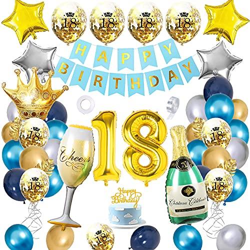 APERIL Decoration Anniversaire 18 ans Fille Garcon Bleu Or Argent Ballon, Deco Anniversaire Ballon Party, Happy Bithday Bannière Avec Latex Or Confettis Ballons Champagne Bouteille Ballon
