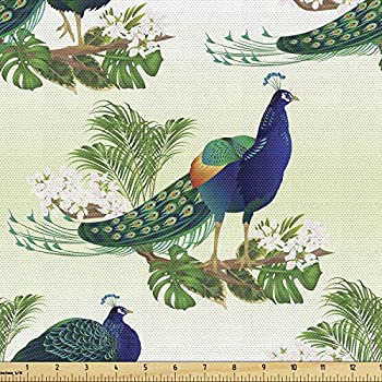 Ambesonne Peacock Fabric by The Yard Ostrich and Monstera Botany Arrangement Decorative Fabric for Upholstery and Home Accents 1 Yard Green Blue