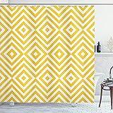 ABAKUHAUS Amarillo Cortina de Baño, El Zigzag, Material Resistente al Agua Durable Estampa Digital, 175 x 200 cm, Marigold Blanca