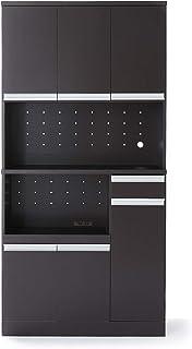 LOWYA キッチン収納 レンジボード レンジ台 ハイタイプ ワイド 幅90cm ブラウン