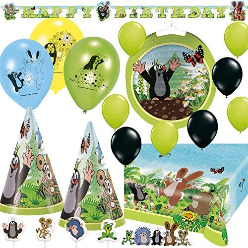 72-teiliges Party-Deko-Set * DER KLEINE Maulwurf * mit Tischdecke, Kerzen, Partykette, Partyhüte, Luftballons, Lampion u.v.m. // Kindergeburtstag Kinder Geburtstag Mottoparty