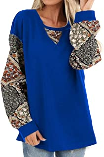 Howely Women's Tops Floral Print Long Sleeve Puff Pullover Casual Shirts