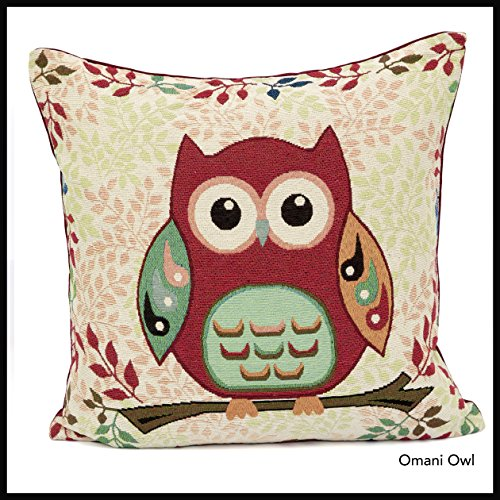 Cushion Cover Tapestry 18x18' Omani Owl Designed by Adam Linens