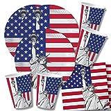 60-teiliges Party-Set USA - Teller Becher Servietten für 20 Personen