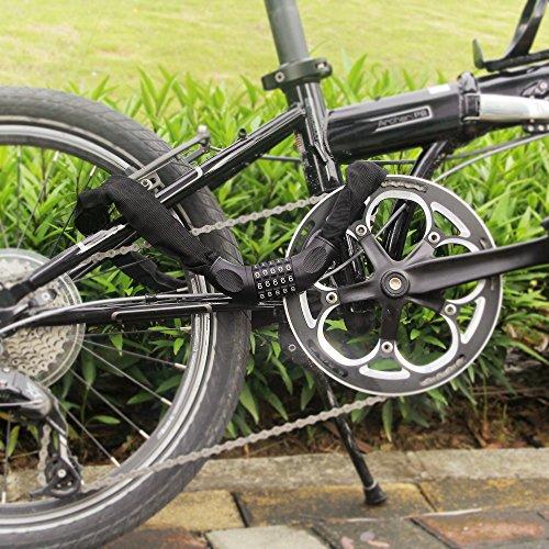 Fahrrad Kettenschloss, marsboy Fahrradschloss 90 cm lang Rahmenschutz, 5-stellig Zahlenschloss für Fahrrad Schwarz. - 7
