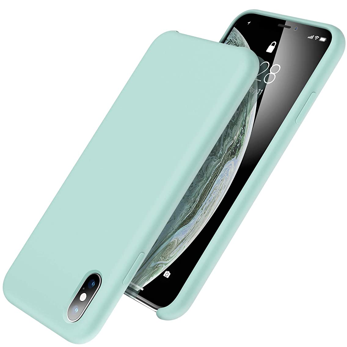 UGT iPhone Xs Case/iPhone X Case, Liquid Silicone Case Slim Shockproof Microfiber Cloth Lining Compatible with iPhone X (2017) & iPhone Xs (2018) 5.8 inch, Mint