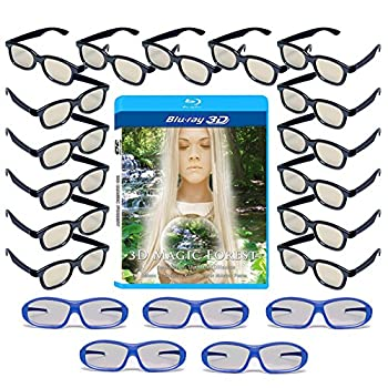 20 Universal Passive 3D Glasses Family Pack for LG SONY and all other Passive 3D TV's - Plastic 3-D Glasses - Includes 3D Blu-ray 5 Premium Master Image and 15 Adult RealD Compatible 3D Glasses