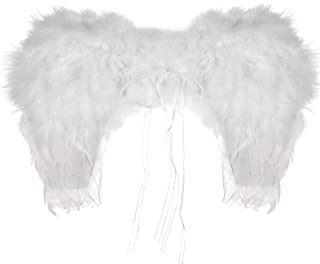 Lux Accessories Halloween Girls Fun White Dress Up Costume Heaven Feather Angel Wings
