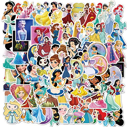 100Pack Animation Film Theme Cartoon Princess Stickers Set Random Sticker Decals for Water Bottle Laptop Cellphone Bicycle Motorcycle Car Bumper Luggage Travel Case. Etc (Beautiful Princess)