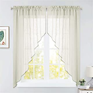 RYB HOME Curtain Tier and Swag Set, Privacy Sheer Curtains Window Treatment Drapes Light & Airy Voile Panels for Bedroom/Kitchen/Farmhouse Garden, 36 x 63 inch Each, 2 Pcs, Warm Beige
