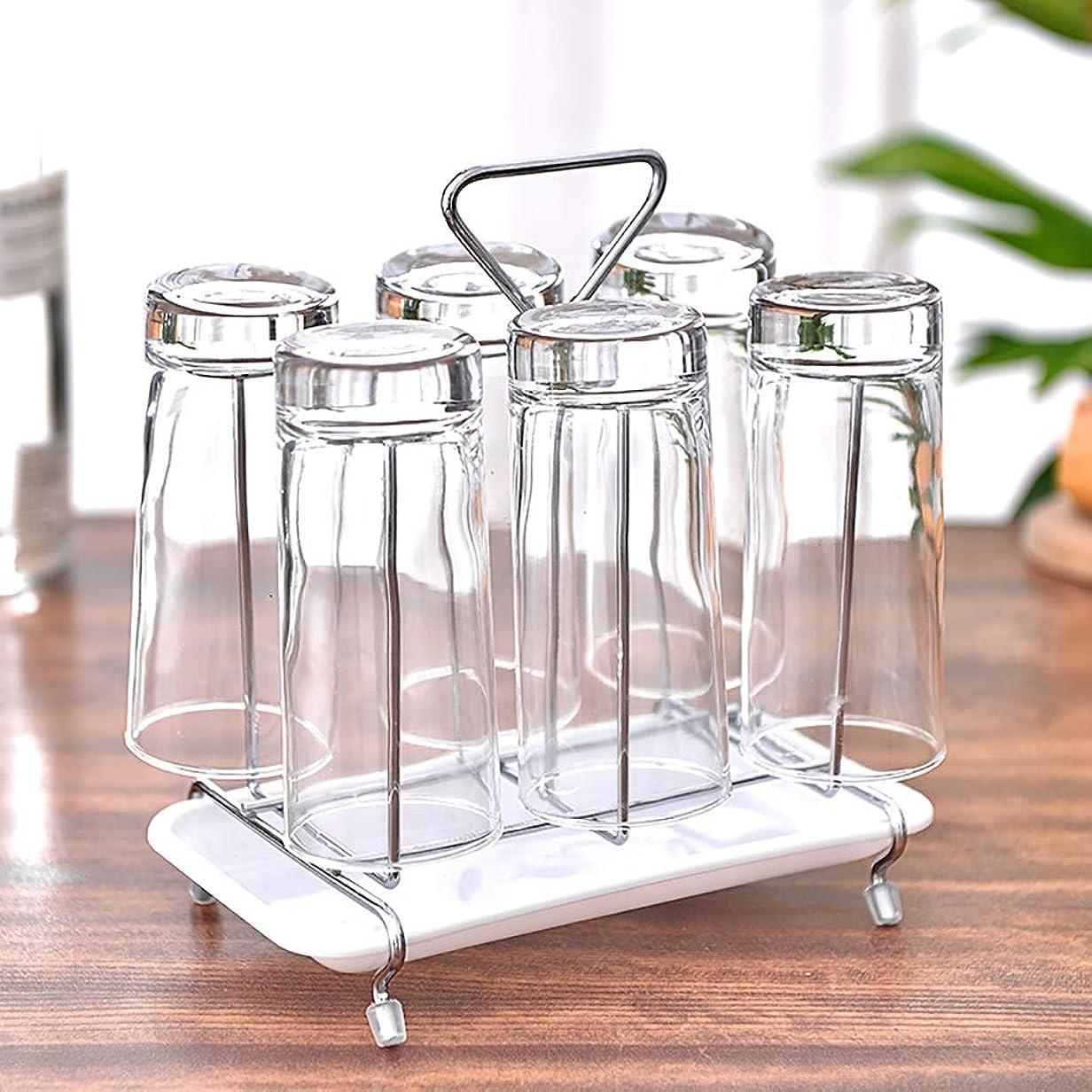 変位おしゃれじゃない実り多いガラスホルダーワインカップホルダーワイングラス乾燥収納ラック水飲料排水棚ワインマグホルダー6カップ用(ウォータートレイ付き)