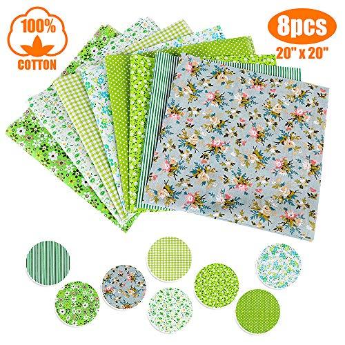papasgix Tessuto Cotone Stampati, Set di Stoffa DIY Patchwork per Fatti a Mano, Materiali Tessuti in Cotone DIY per Hobby Creativi, 8 Pezzi 50 * 50cm