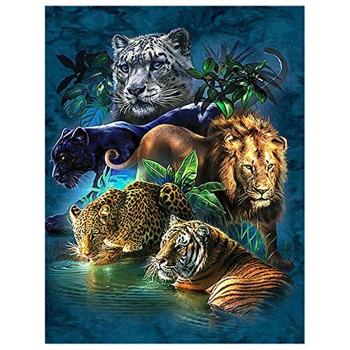 Lion 5d Diamond Painting Kit Full Drill DIY Tiger Lion Leopard 3D Embroidery Cross Stitch Rhinestone Decor@40x50cm