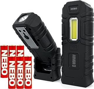 NEBO Armor3 Flashlight 360 Lumen Work Light Indestructible Waterproof Resistant Bundle with 3 Extra NEBO AAA Batteries