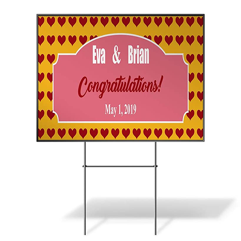 Custom Personalized Yard Sign Wedding Congrats Name Date Red Hearts Whales One Side Print 18inx12in