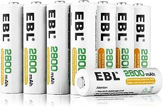 EBL 2800mAh AA de Alta Capacidad Ni-MH 1200 Ciclo de Pilas Recargables para los Equipos Domésticos con Estuches de Almacenamiento (8 Piezas)
