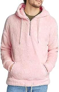 Mens Sherpa Hooded Pullover Fuzzy Sweatshirts Long Sleeve Jackets Fleece Fluffy Front Pocket Fall Winter Outwear