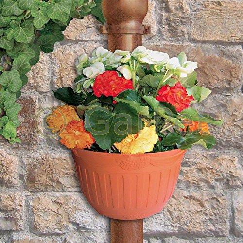 Blumentopf Pflanz Topf Gefäß Regenrohr Regenrinne Fallrohr Wand Topf 2 St im Set Terracotta