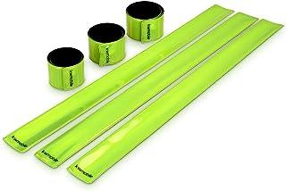 kwmobile Set de 6 Cintas Reflectantes - Banda Reflectante neón de Alta Visibilidad para Actividades Deportivas - Tiras Fluorescentes 34 x 3CM EN13356