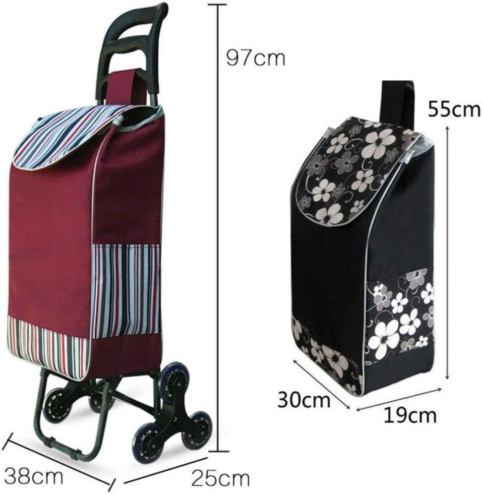 YSNBM Shopping Trolley 6 Wheel Folding Shopping Trolley Cart Small Pull Cart Folding Trolley Elderly Hand Cart Portable Household Trailer Shopping cart Trolley Bag,Supermarket,Travel Color : B
