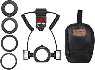 YONGNUO YN24EX E-TTL Macro Flash Speedlite 5600K with 2pcs Flash Heads and 4pcs Adapter Rings for Canon EOS 1Dx 5D3 6D 7D ...