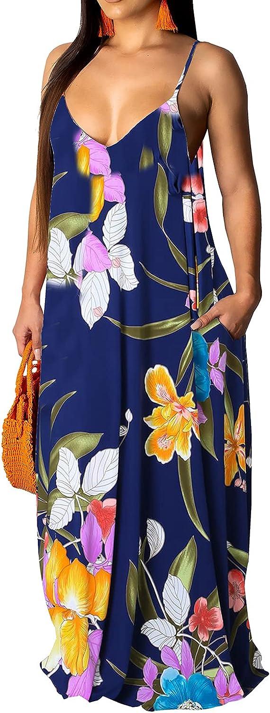 JTNFairy Womens Sexy V-Neck Long Maxi Dress Tie Dye Slit Beach Sundress