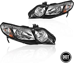 Replacement Headlight Assembly for 2006 2007 2008 2009 2010 2011 Honda Civic Sedan 4 Door with Black Housing Amber Reflector Amber Park Lens Driver and Passenger Side Headlamps OE Replacement 33151-S