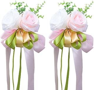 WINOMO 2Pcs Ribbon Flower for Wedding Artificial Rose Wedding Car Decoration Flower Mirror Door Decor