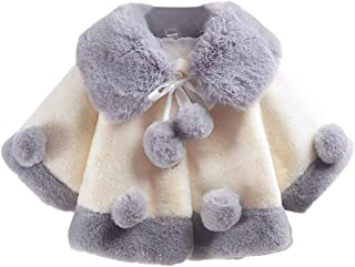 Baby Girls Winter Fur Cape Coat Thick Jacket Cute Pom Pom Warm Outerwears