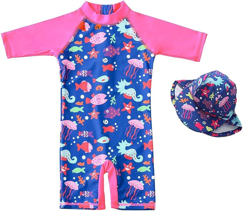 Baby Mädchen Badeanzug EIN stück -Kleidung UV-Schutz 50+ Kinder Schwimmanzug Badeanzug MIT Einem Reißverschluss mit Sonnenhut